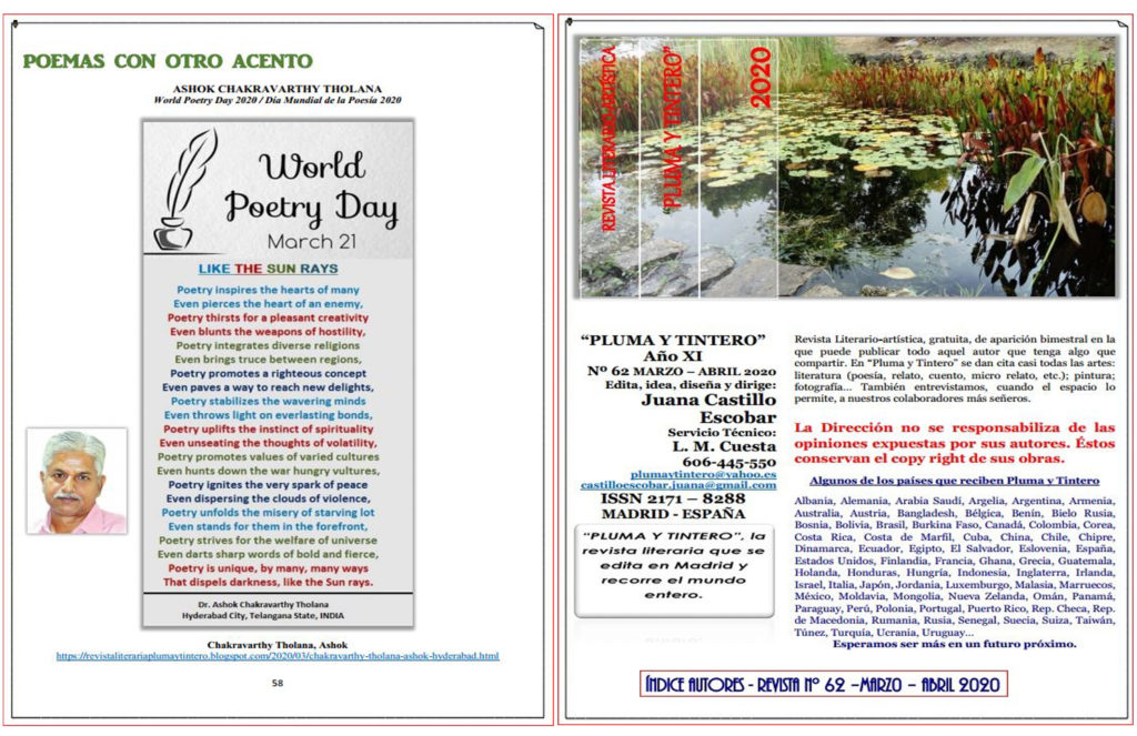 Poem for WORLD POETRY DAY was published in the Bi-monthly Magazine in SPAIN - the months of March – April, 2020